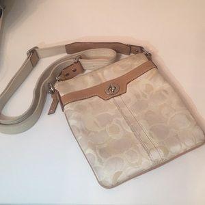 White/Cream Coach Cross body Bag
